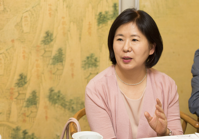Eune Ju-hyun, the new president and CEO of the Korea Institute of Design Promotion, speaks at a press event held Tuesday in central Seoul. (Korea Institute of Design Promotion)