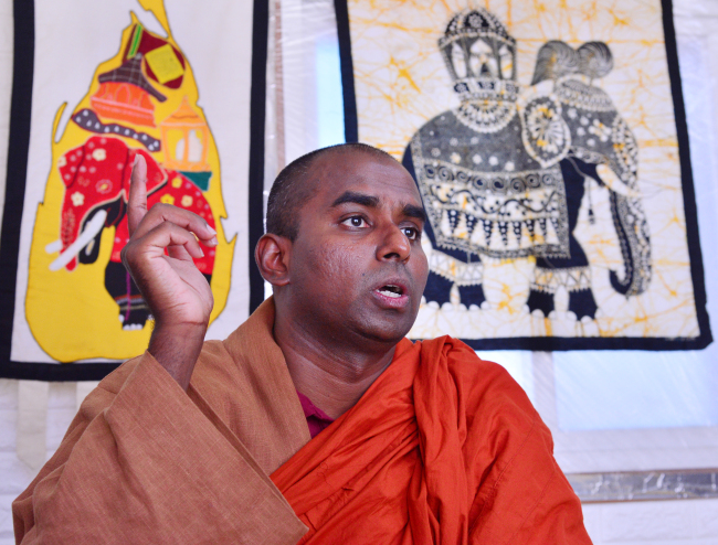 Chief monk Ven. Thalgamuwa Dhammakitti speaks to The Korea Herald at the Korea-Sri Lankan Mahaviharaya Center in Pyeongtaek, Gyeonggi Province, on July 17.
