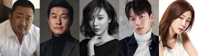 """Cast for """"Bad Guys: The Movie."""" From left: Ma Dong-seok, Kim Sang-joong, Kim Ah-joong, Jang Ki-yong and Kang Ye-won. (CJ Entertainment)"""