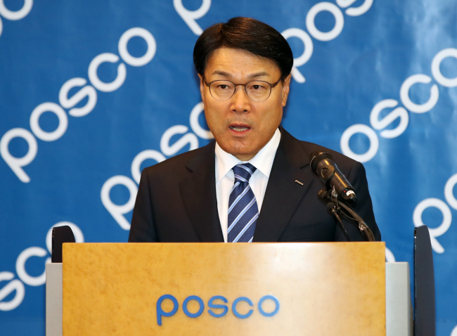 Newly elected ninth Chairman of Posco Choi Jeong-woo speaks during a press conference at Posco center in southern Seoul on Friday. (Yonhap)