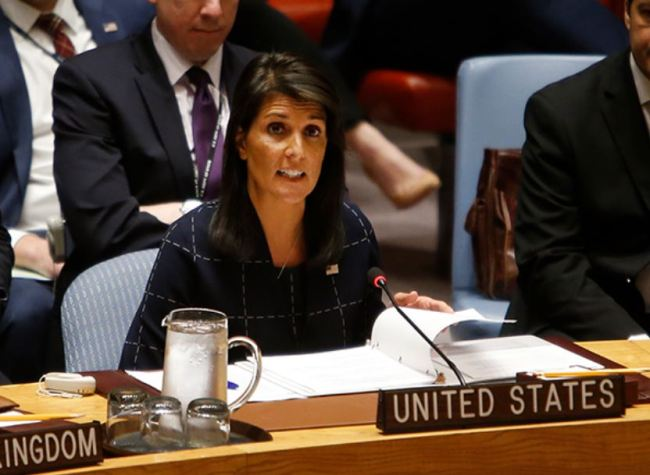 United States Ambassador to the United Nations Nikki Haley speaks after voting to adopt a new sanctions resolution against North Korea during a meeting of the UN Security Council at UN headquarters, Monday, Sept. 11, 2017. (AP)