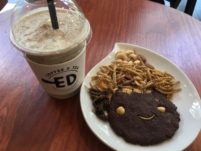 Mealworm smoothie (left), dried crickets, mealworm cookie and mealworm chips (Im Eun-byel/The Korea Herald)