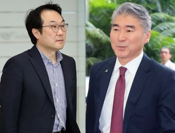Lee Do-hoon, South Korea's chief nuclear envoy, (pictured left) and Sung Kim, US ambassador to the Philippines (Yonhap)