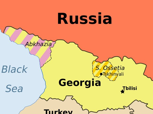 A map of Abkhazia and South Ossetia, considered occupied territories by Georgia and independent republics by Russia (Wikipedia)