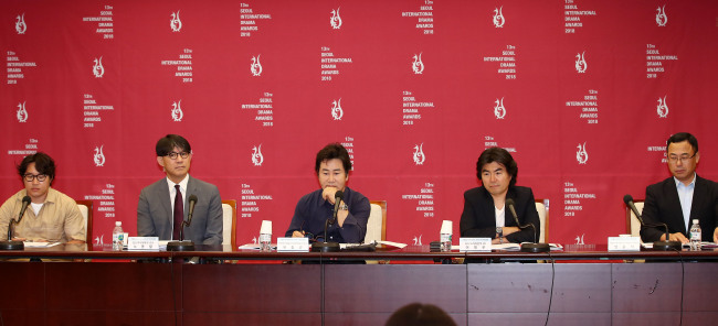 Members of the organizing committee of the Seoul International Drama Awards 2018 speak at a press conference at Korea Press Center in Jongno-gu, Seoul on Tuesday. (Yonhap)