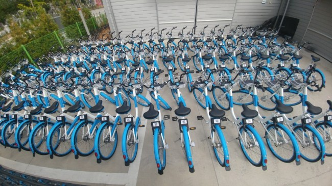 IOT-POWERED BIKES -- A fleet of public bikes powered by internet of things technology are parked at a docking station in Sejong City on Monday. The GPS-equipped bikes, which will officially be available for use from Wednesday, can be unlocked and returned at any of the city's 400 bike docking stations by using a smartphone app. (Yonhap)