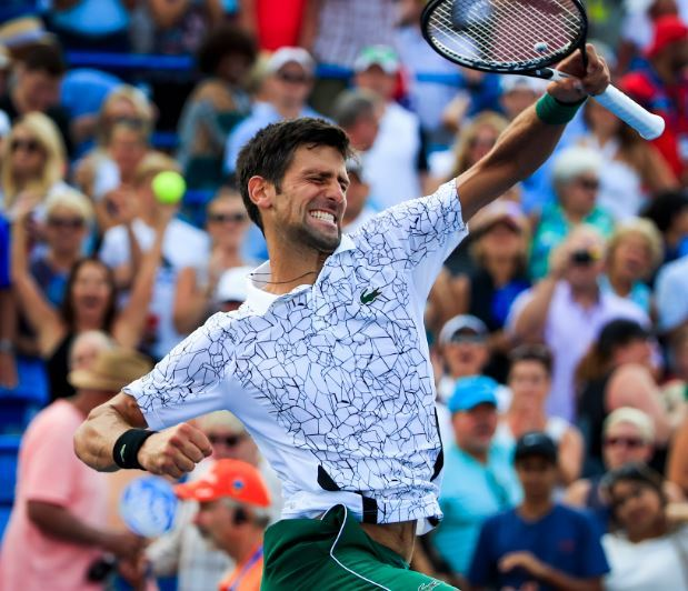 Novak Djokovic of Serbia reacts after defeating Roger Federer of Switzerland in their final match in the Western & Southern Open tennis tournament at the Lindner Family Tennis Center in Mason, Ohio, USA, on Aug. 19. (EPA-Yonhap)