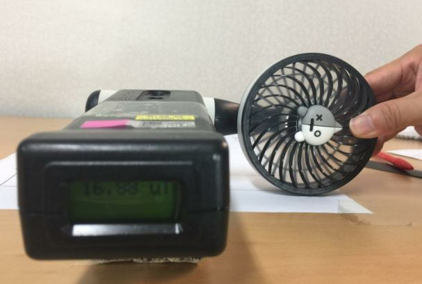 A handheld fan is tested by the Asian Citizen's Center for Environment and Health (ACCEH)