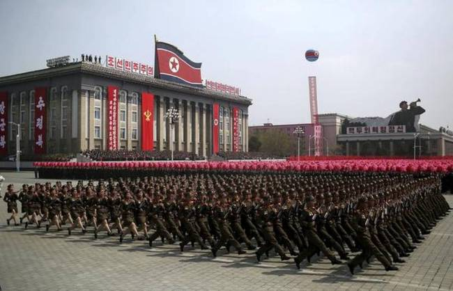 In this April 15, 2017, file photo, soldiers march across Kim Il Sung Square during a military parade in Pyongyang, North Korea. (AP)