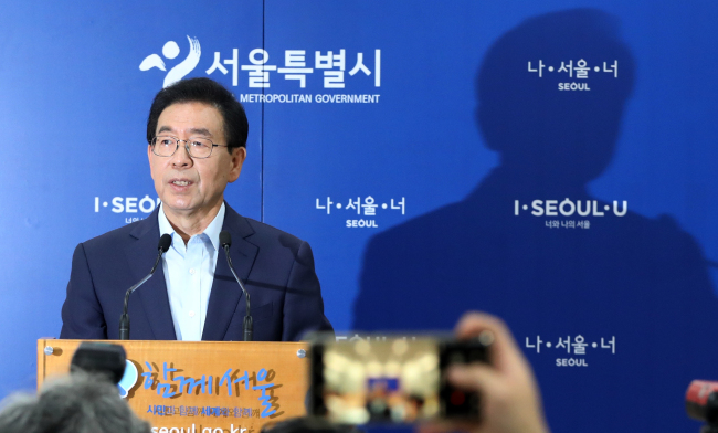 Seoul Mayor Park Won-soon speaks at a press conference in Seoul on Sunday. (Yonhap)