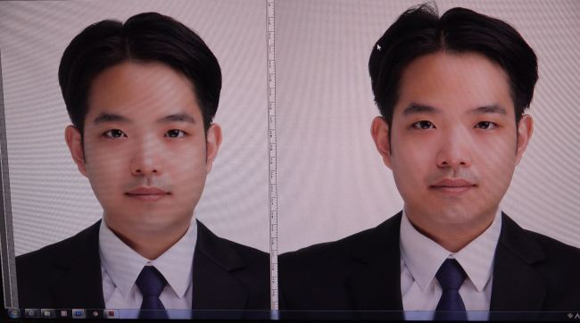 A photoshopped portrait photo (left) and the original. (Lim Jeong-yeo/The Korea Herald)