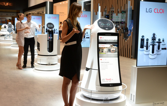 LG's robot CLOi is displayed at IFA 2018 in Berlin. (LG Electronics)