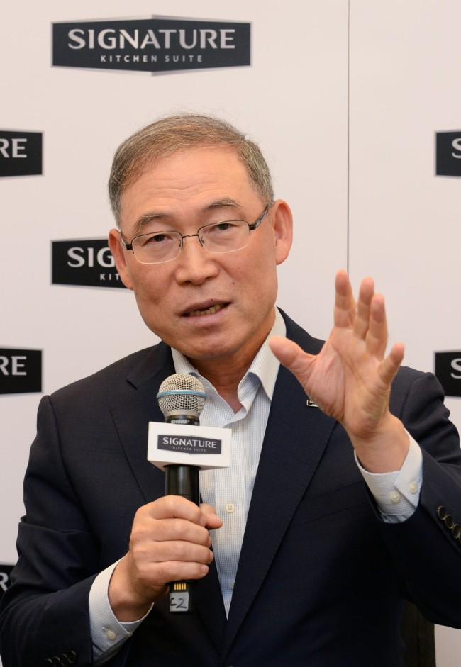 LG Electronics H&A President Song Dae-hyun speaks during a press conference at a hotel in Berlin on Thursday. (LG Electronics)