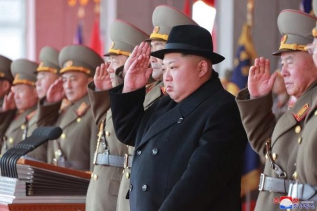 North Korean leader Kim Jong-un attends a grand military parade celebrating the 70th founding anniversary of the Korean People`s Army at the Kim Il-sung Square in Pyongyang. (Reuters)