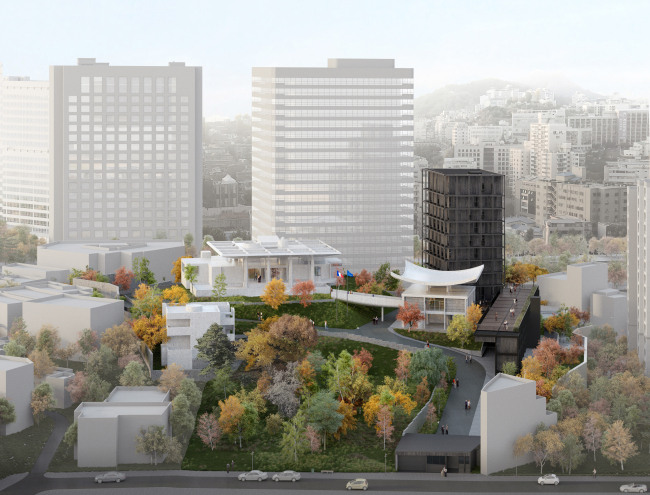 A computerized image of the new French Embassy compound in Seoul. The construction project is run by French firm Sathy and Korean firm Mass Studies. (MMCA)