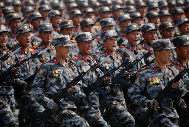 In a file photo, North Korean soldiers march during a military parade marking the 105th birth anniversary of the country's founding father Kim Il-sung in Pyongyang, North Korea, April 15, 2017. (Reuters)
