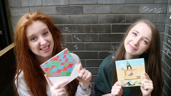 Eva (left) and Ciara record K-pop reviews for their YouTube channel. (A.C.E)