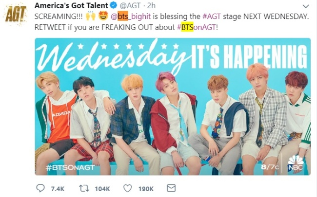(AGT's Twitter account)