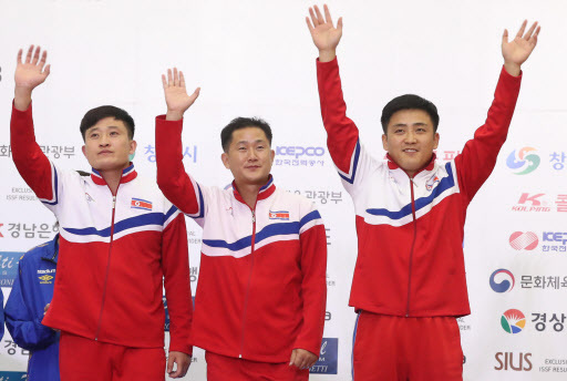 (From left) Kwon Kwang-il, Jo Yong-chol and Pak Myong-won (Yonhap)