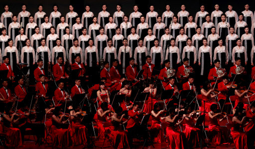 Performers sings during a concert on the eve of 70th anniversary of North Korea`s foundation in Pyongyang, September 8, 2018. (REUTERS)