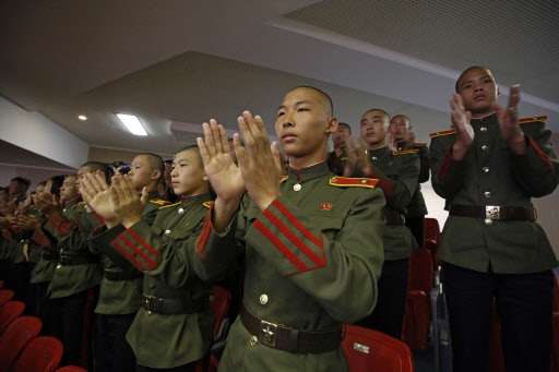 North Koreans military cadets attend an evening gala held on the eve of the 70th anniversary of North Korea`s founding day in Pyongyang, North Korea, Saturday, Sept. 8, 2018. (AP)