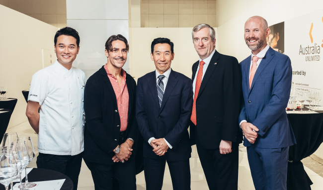 Participants pose at the Australian Wine Grand Tasting 2018 event at Le Meridien Hotel in Seoul on Thursday. From left: Chef Edward Kwon at restaurant Lab XXIV at Le Meridien, Master of Wine Ned Goodwin, Australian Ambassador James Choi, Wine Australia Regional General Manager David Lucas and Austrade Trade Commissioner Rodney Commerford. (Austrade)