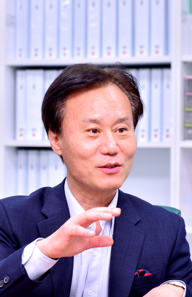 Park Jin, director of National Assembly Futures Institute speaks with The Korea Herald at his office at the National Assembly building in Yeouido, Seoul, on Sept. 4. (Park Hyun-koo/The Korea Herald)