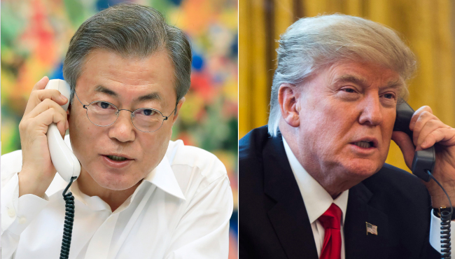 Photo of President Moon Jae-in and US President Donald Trump released by Cheong Wa Dae following their telephone conversation on Sept. 4. (Cheong Wa Dae)
