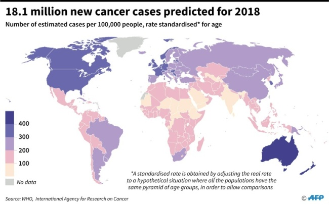 Estimates per country for the number of new cancer cases in 2018 per 100,000 people, according to the World Health Organisation. (AFP)