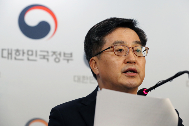 Deputy Prime Minister and Finance Minister Kim Dong-yeon speaks on Thursday in a press briefing, presenting the government's reinforced measures to curb housing prices. (Yonhap)