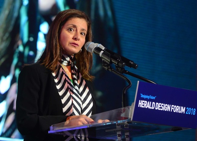 Princess Dana Firas of Jordan, president of the Petra National Trust, speaks at Herald Design Forum 2018 in Seoul on Friday. (Park Hae-mook/The Korea Herald)