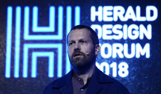 "cap - Italian designer Martino Gamper gives a lecture titled ""Not Just a Chair"" at Herald Design Forum 2018 held at Dongdaemun Design Plaza in Seoul on Friday. (Park Hae-mook/The Korea Herald)"