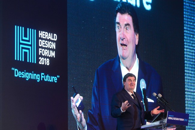 Peter Zec, Red Dot founder and chief executive, speaks at Herald Design Forum 2018 in Seoul on Friday. (Lee Sang-sup/The Korea Herald)