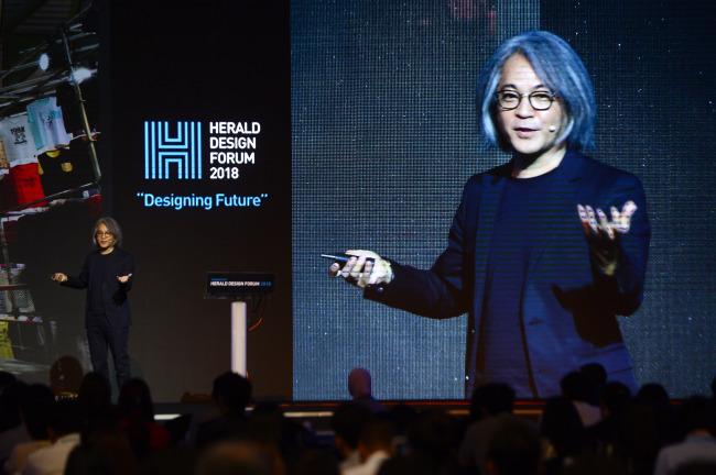 Junji Tanigawa, JTQ chief executive, speaks at Herald Design Forum 2018 in Seoul on Friday. (Park Hae-mook/The Korea Herald)
