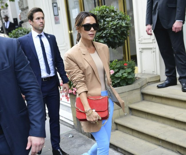 Victoria Beckham leaves after her London Fashion Week SS19 show in Dover Street, London, Sunday Sept. 16. (AP)