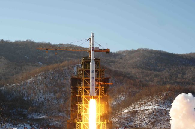 A picture of a long-range missile being test-fired from Sohae Launching Station (Yonhap)