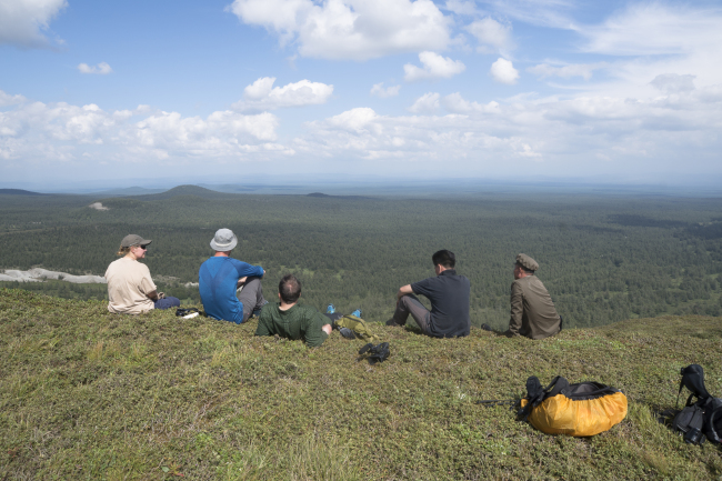 Shepherd and his team rest on a plateau during their trip. (Roger Shepherd)