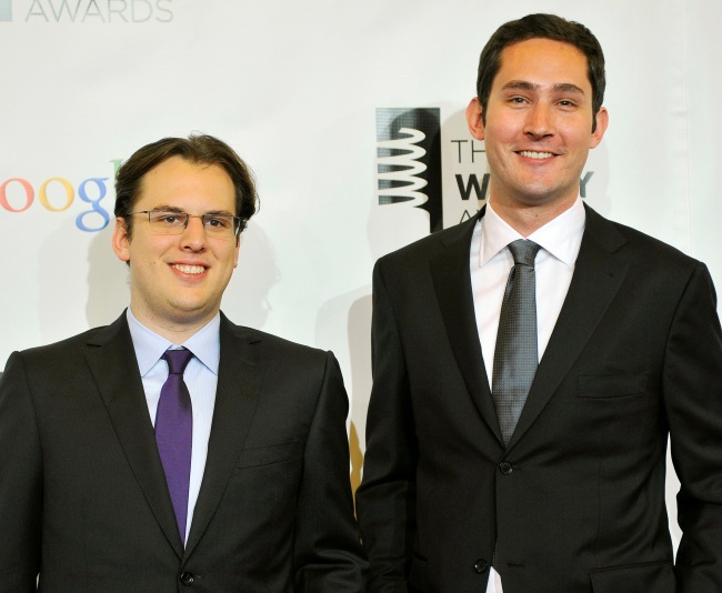 FILE PHOTO: Instagram founders Mike Krieger (L) and Kevin Systrom attend the 16th annual Webby Awards in New York May, 21 2012. (Yonhap)