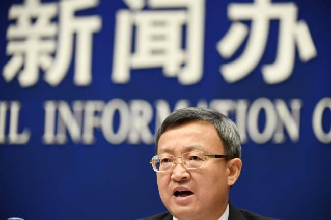 China`s Vice Minister of Commerce Wang Shouwen speaks at a press conference in Beijing on September 25, 2018. (Yonhap)