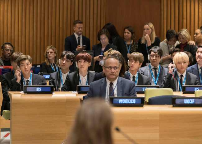 """BTS attends the launch event of UNICEF's """"Generation Unlimited."""" (AFP-Yonhap)"""