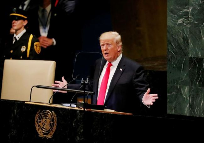US President Donald Trump addresses the 73rd session of the United Nations General Assembly at UN headquarters in New York, US, Sept. 25. (Reuters)