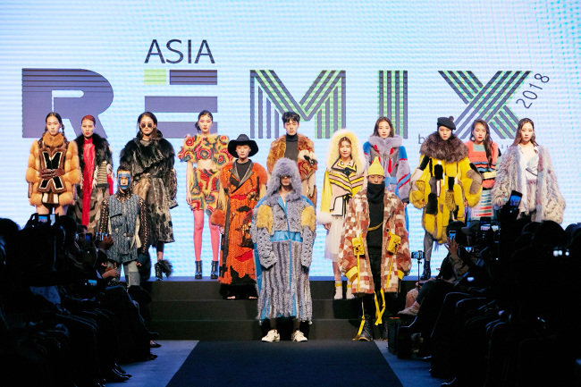 Models wear fur creations by rookie designers at Asia Remix fashion show held at Grand Hyatt Seoul on Tuesday. (IFF)