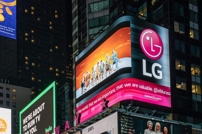 A billboard at New York Times Square showing BTS music videos (LG Electronics)