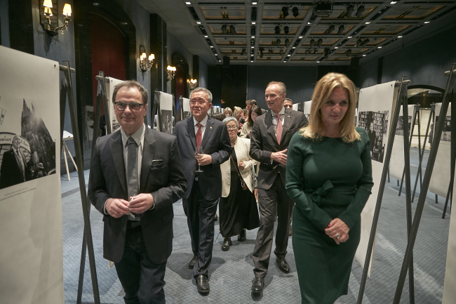 """At the reception the photography exhibition """"German Contemporary Excellence,"""" by Gerhard Steidl and the Meisterkreis, was held, showcasing images that illuminate diverse aspects of success in a reunified, present-day Germany. (German Embassy)"""