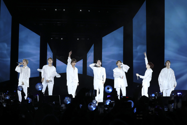 BTS performs at Citi Field in New York on Saturday. (Yonhap)