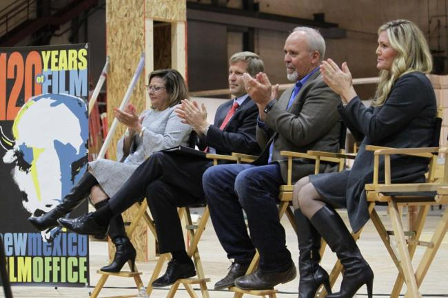 New Mexico Gov. Susana Martinez, from left, Albuquerque Mayor Tim Keller, Neflix vice president for physical production Ty Warren and Albuquerque film liaison Alcia Keyes headline a news conference at ABQ Studios in Albuquerque, New Mexico on Monda, Oct. 8, 2018. (AP)