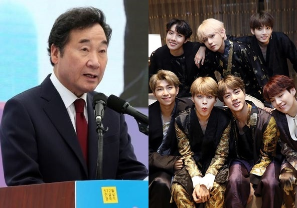 Prime Minister Lee Nak-yon (left) and K-pop group BTS (Yonhap, Big Hit Entertainment)