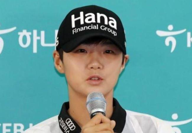 Park Sung-hyun of South Korea speaks at a press conference ahead of the LPGA KEB Hana Bank Championship at Sky 72 Golf Club. (Yonhap)
