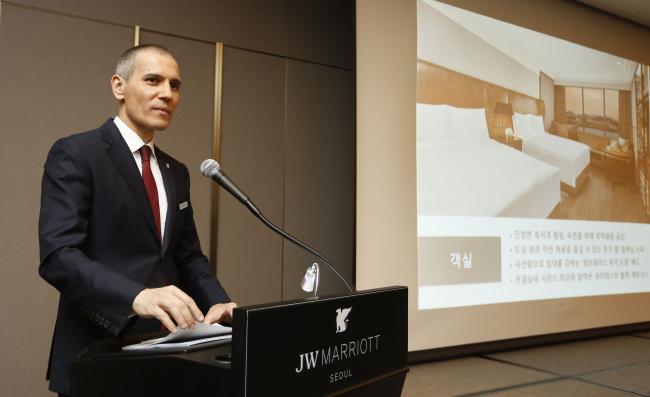 Radu Cernia, general manager of JW Marriott Seoul, speaks during a media briefing Wednesday. (JW Marriott Seoul)
