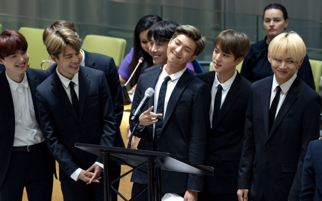 BTS speaks at the UN General Assembly in New York on Sept. 24. (Yonhap)